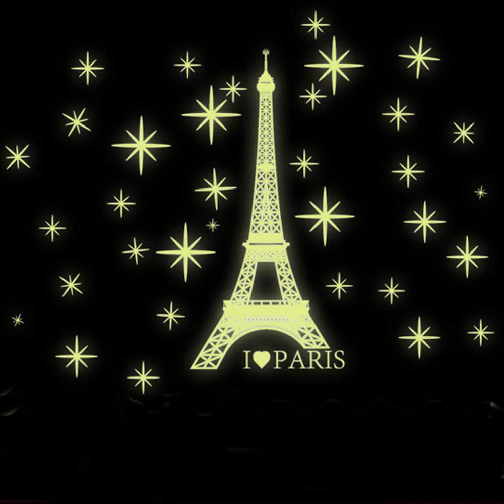 Luminous Eiffel Tower PVC Wall Decals DIY Home Sticker WallPaper Vinyl Wall arts Pictures Removable Murals For House Decoration Baby Living Rooms Bedroom Toilet