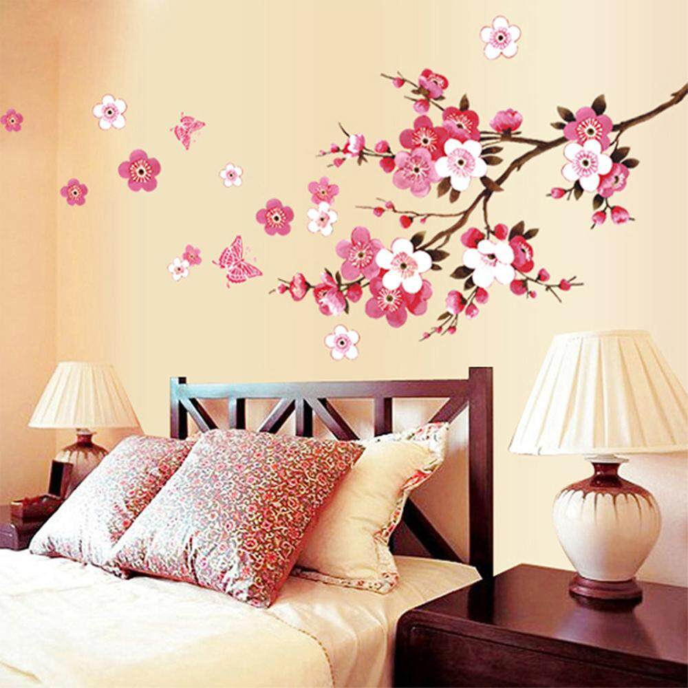 Pink Peach Flower PVC Wall Decals DIY Home Sticker WallPaper Vinyl Wall arts Pictures Removable Murals For House Decoration Baby Living Rooms Bedroom Toilet