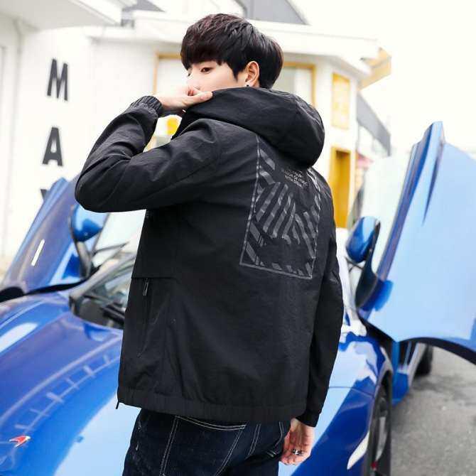 42a9dac8aeb Hat coat men in spring and autumn slim handsome Korean fashion jacket autumn  leisure printing academic