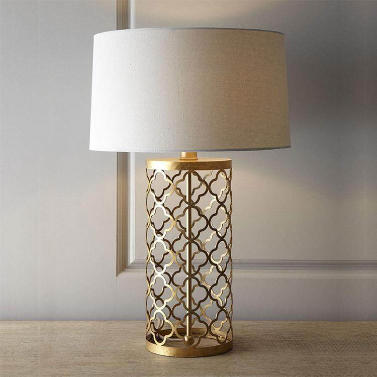 Table Lamp American Simple Gold Openwork Bird Cage Iron Table Lamp Continental Home Grid Night Light