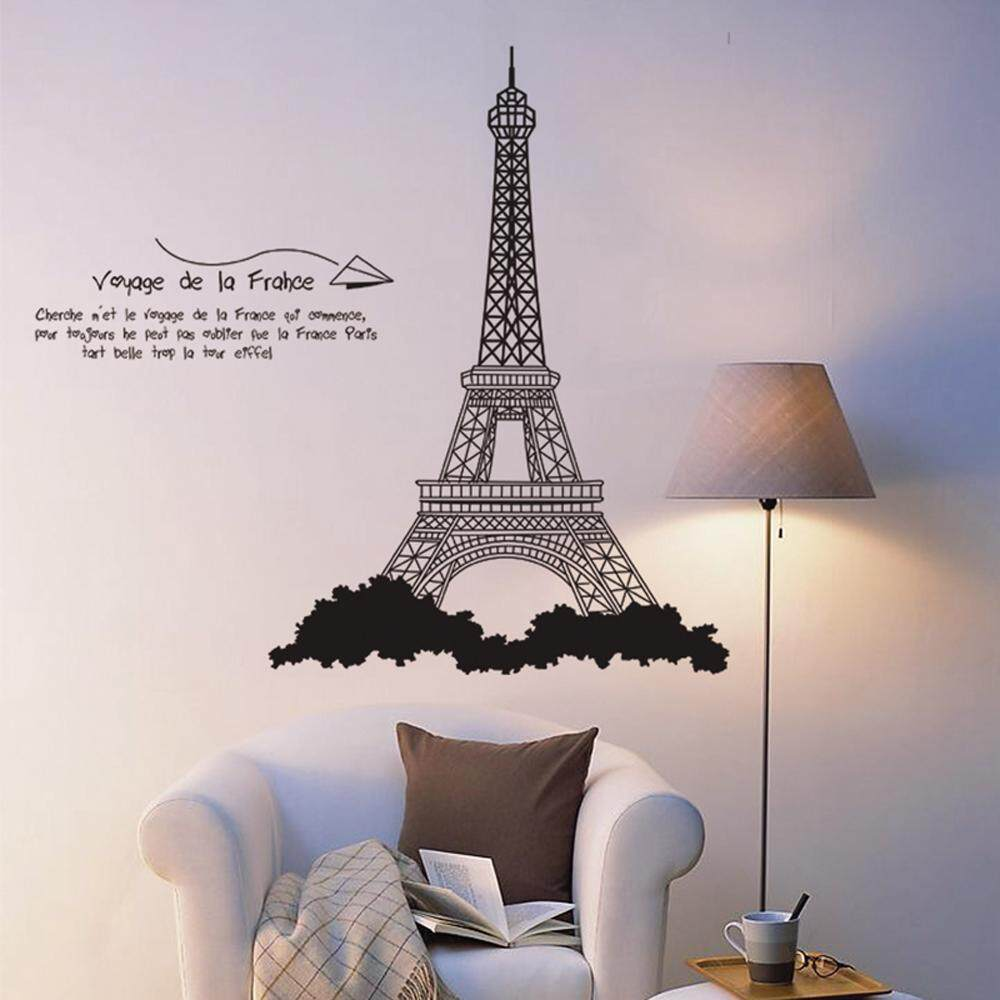 Black Eiffel Tower PVC Wall Decals DIY Home Sticker WallPaper Vinyl Wall arts Pictures Removable Murals For House Decoration Baby Living Rooms Bedroom Toilet