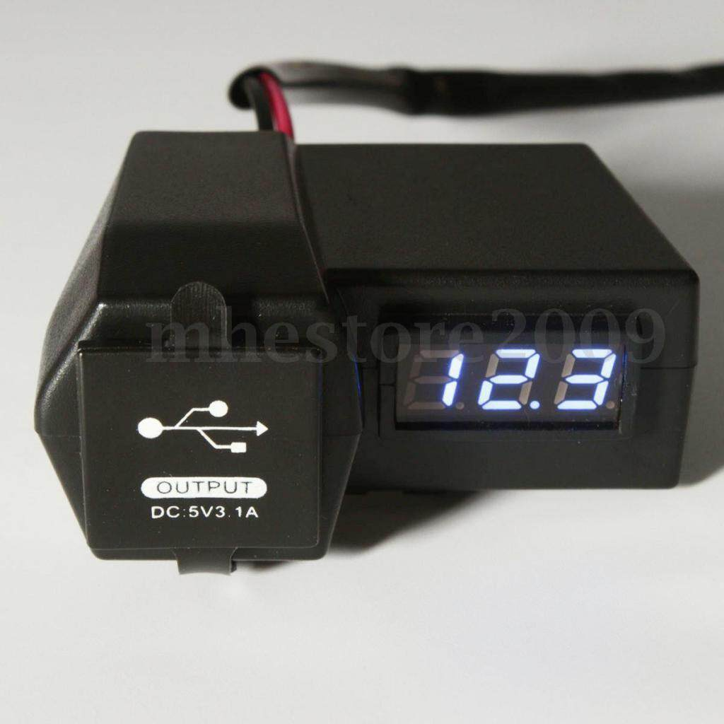 Miracle Shining Motorcycle USB Socket Outlet Charger + Bule LED Voltmeter Voltage Meter