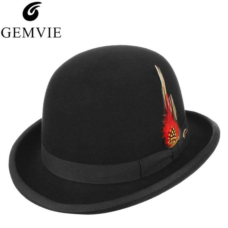 GEMVIE Classical British Style Men Fedoras 100% Wool Felt Hat Vintage Roll Brim Bowler Cap Formal Party President Hat With Feather