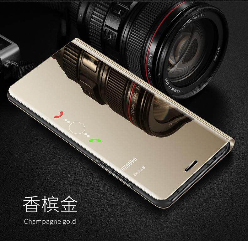 official photos e8e5b cc0be Luxury Mirror Clear View Smart Flip Case for OPPO F7 Leather Cover Casing  for OPPO F7 case Housing - intl