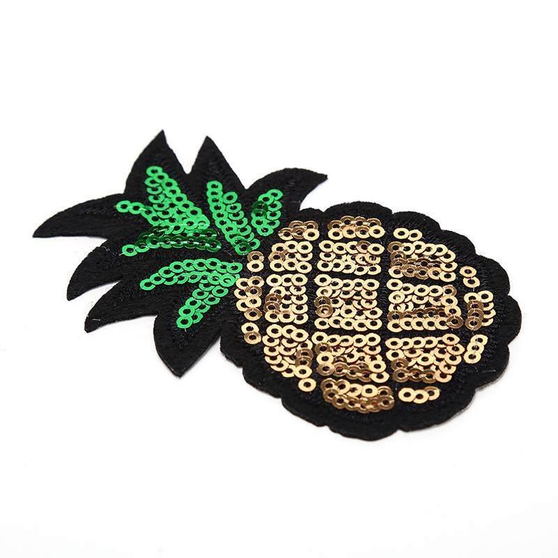 Dứa Kim Sa Lấp Lánh Thêu Sắt may trên miếng dán táo TỰ LÀM quần áo 4.6*8 cm