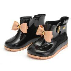 New Girl's Cute Bow Jelly Rubber Kid's Rainboots Rain Boots Princess Rain Shoes Black