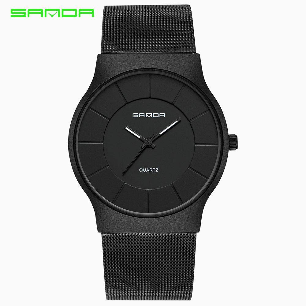 SANDA ultra-thin quartz men's casual watch stainless steel mesh strap