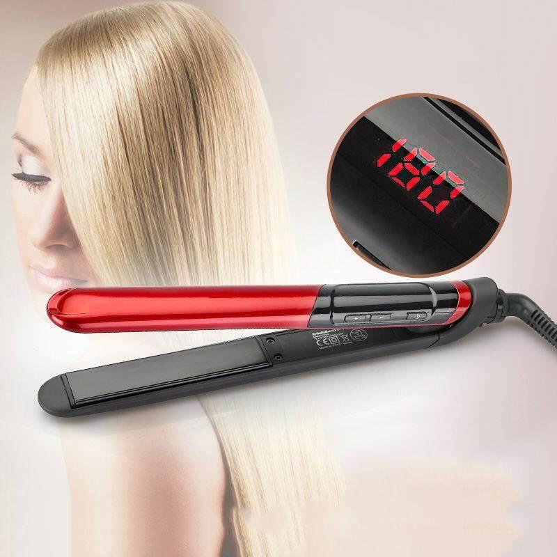 MÀN HÌNH Hiển Thị LCD 2 trong 1 lớp phủ gốm Tóc Lược Uốn tóc chăm sóc sắc đẹp Sắt khỏe mạnh Làm Đẹp (đỏ) cao cấp