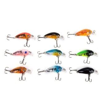 Orange Sunshine 9pcs Plastic Hard Popper Fishing Lures Baits Hard Lures Fishing Tackle 4.5cm/4g