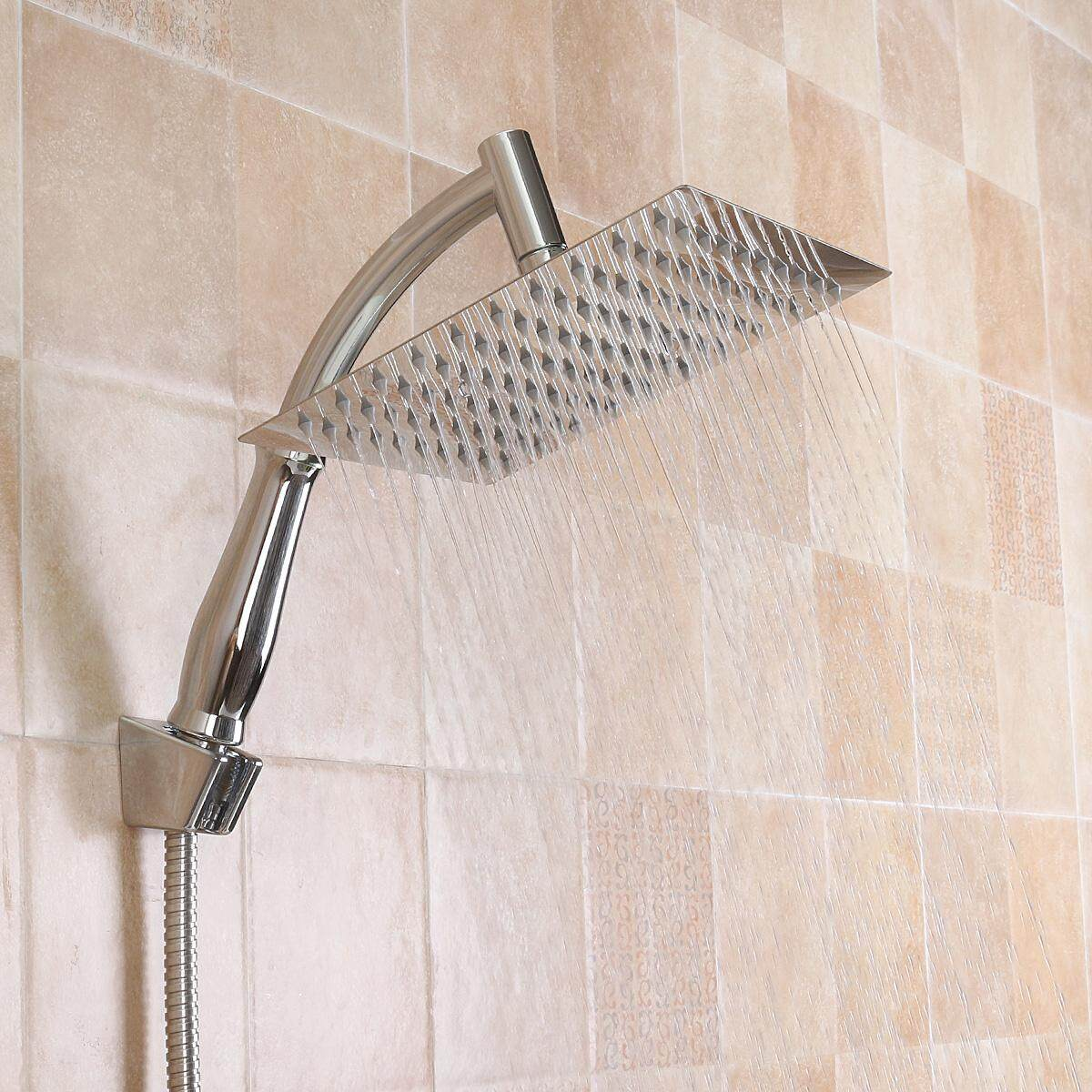 5 In 1 8 Bathroom Square Shower Head Chrome Water Rainfall W Holder Extension Pipe 1 5m Hose