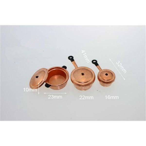 3 Pcs 1:12 Dollhouse Miniature Kitchen Cookware Pot Set Silver a3 One Size