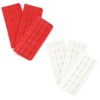 White 3 x 6 Positions Hooks Tape Underwear Bra Extender 3 Pcs