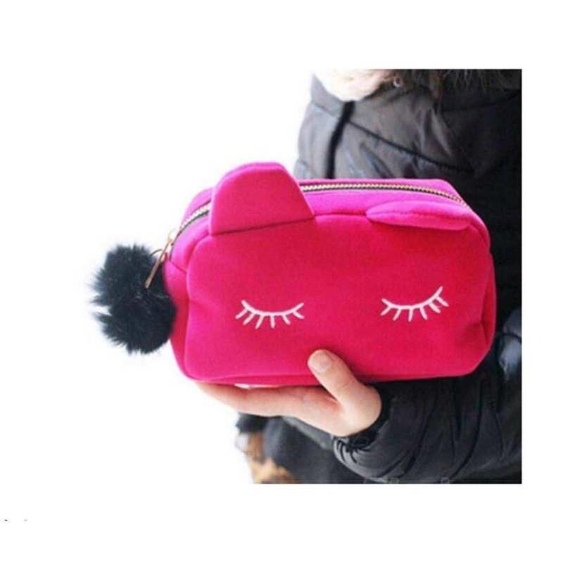 Cute Cat Cosmetic Bag Pink: Buy sell online Wristlets with cheap price