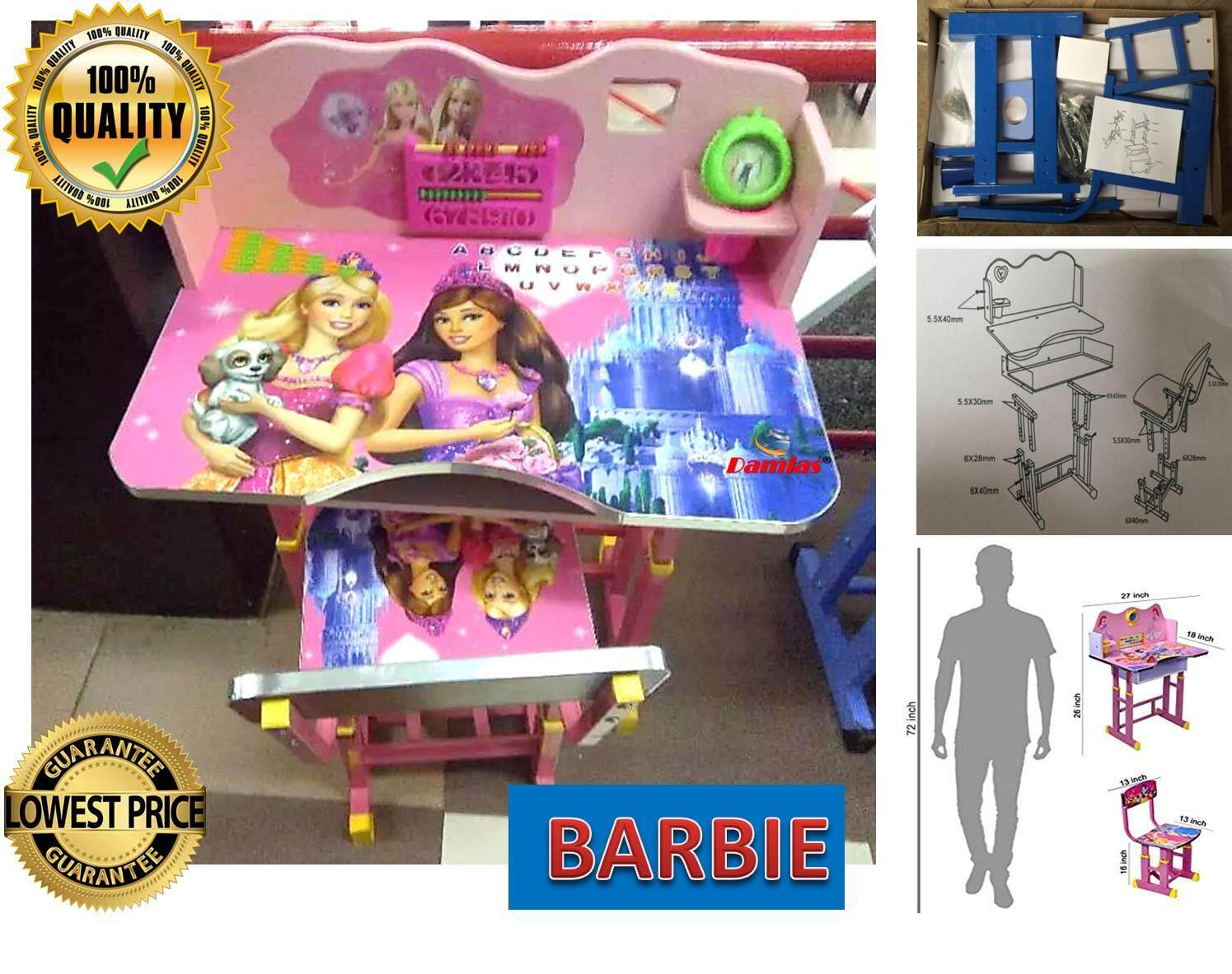 Study Table and Chair Kid Set with Cartoon Theme [ PINK BARBIE ]