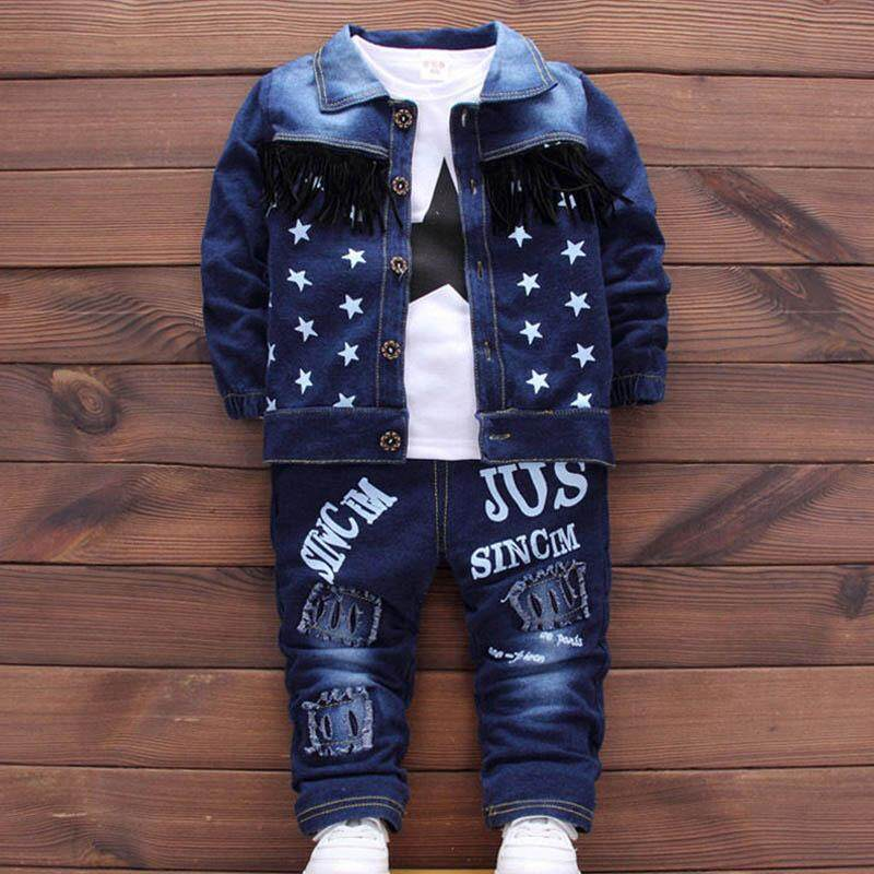 Ishowmall 3PC Baby Clothes Kids Outfits Boys Infant Toddler Denim Coat&T-shirt &Pants new