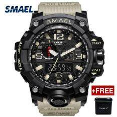 [Free One Original Box] SMAEL Brand Men Sports Watches Dual Display Analog Digital LED Electronic Quartz Wristwatches Waterproof Swimming Military Watch