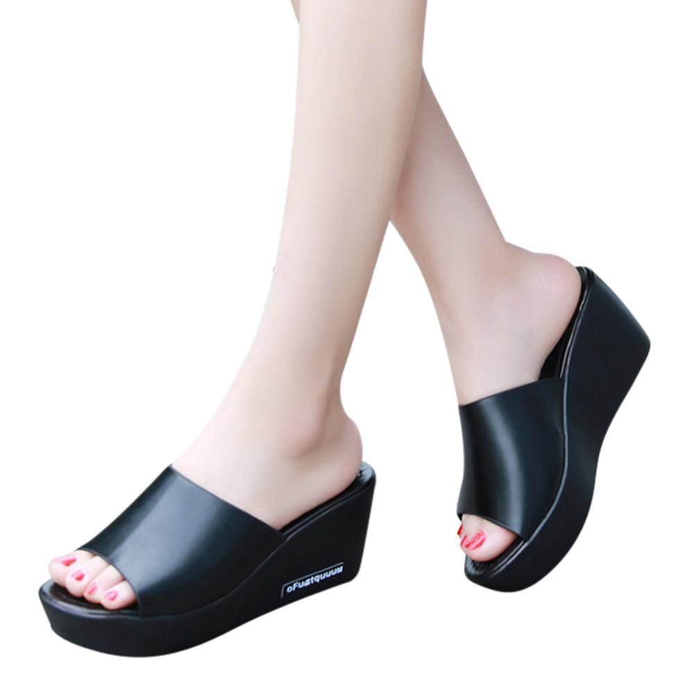 c3e5120c4c7 Casual Women Fish mouth Platform High Heels Sandals Slope Sandals Slippers