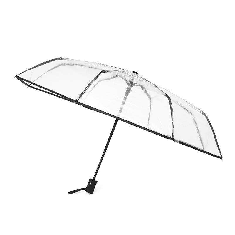 2PCS Windproof Aluminum Fiberglass Ladies Clear women Gentle Strong Umbrellas#Black