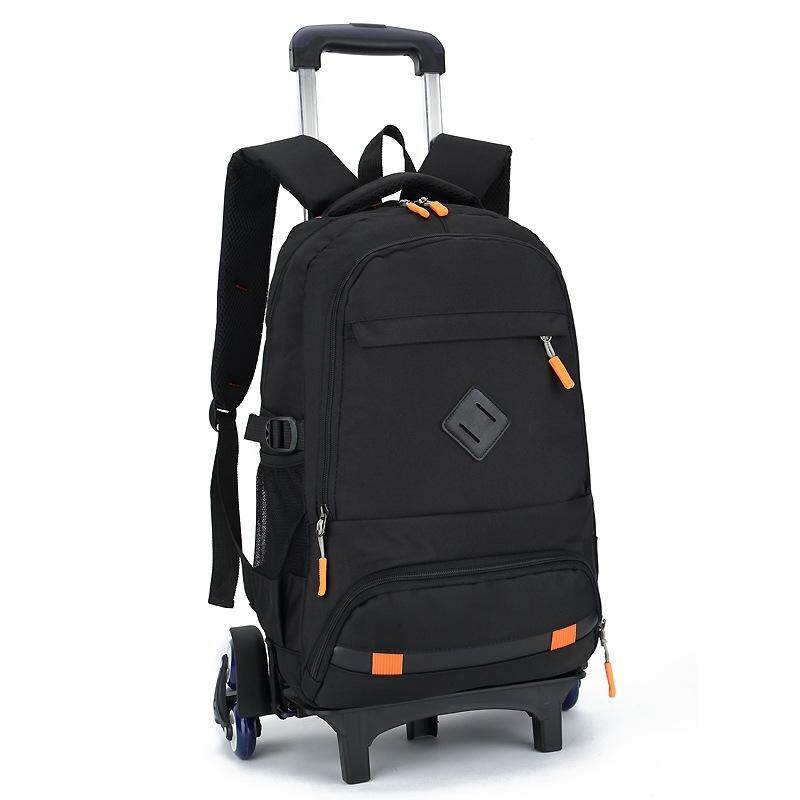【Orange six-wheeled stairs】The new middle school student trolley bag removable casual wild decompression dual-use backpack men and women schoolbag