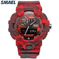 SMAEL Brand Men Fashion Camouflage Military Digital Quartz Watch Mens Waterproof Outdoor LED Sports Watches