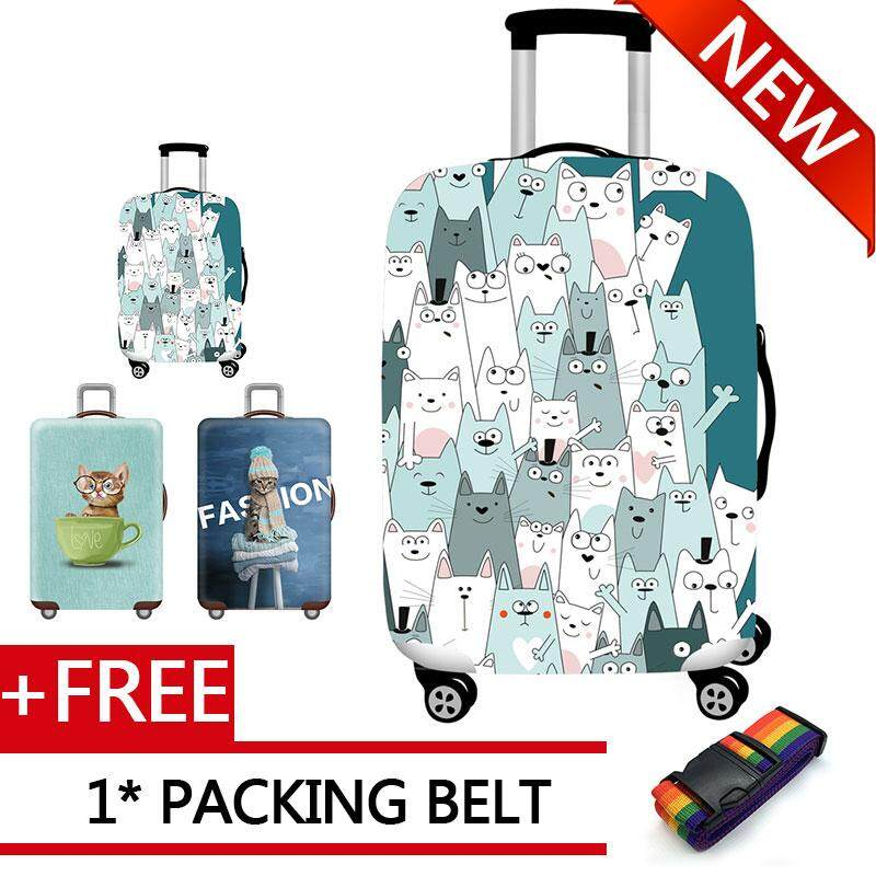 Cute Cats Travel Luggage Cover Spandex Washable Suitcase Protective Cover Baggage Protector Fit 18-32 inch Suitcase