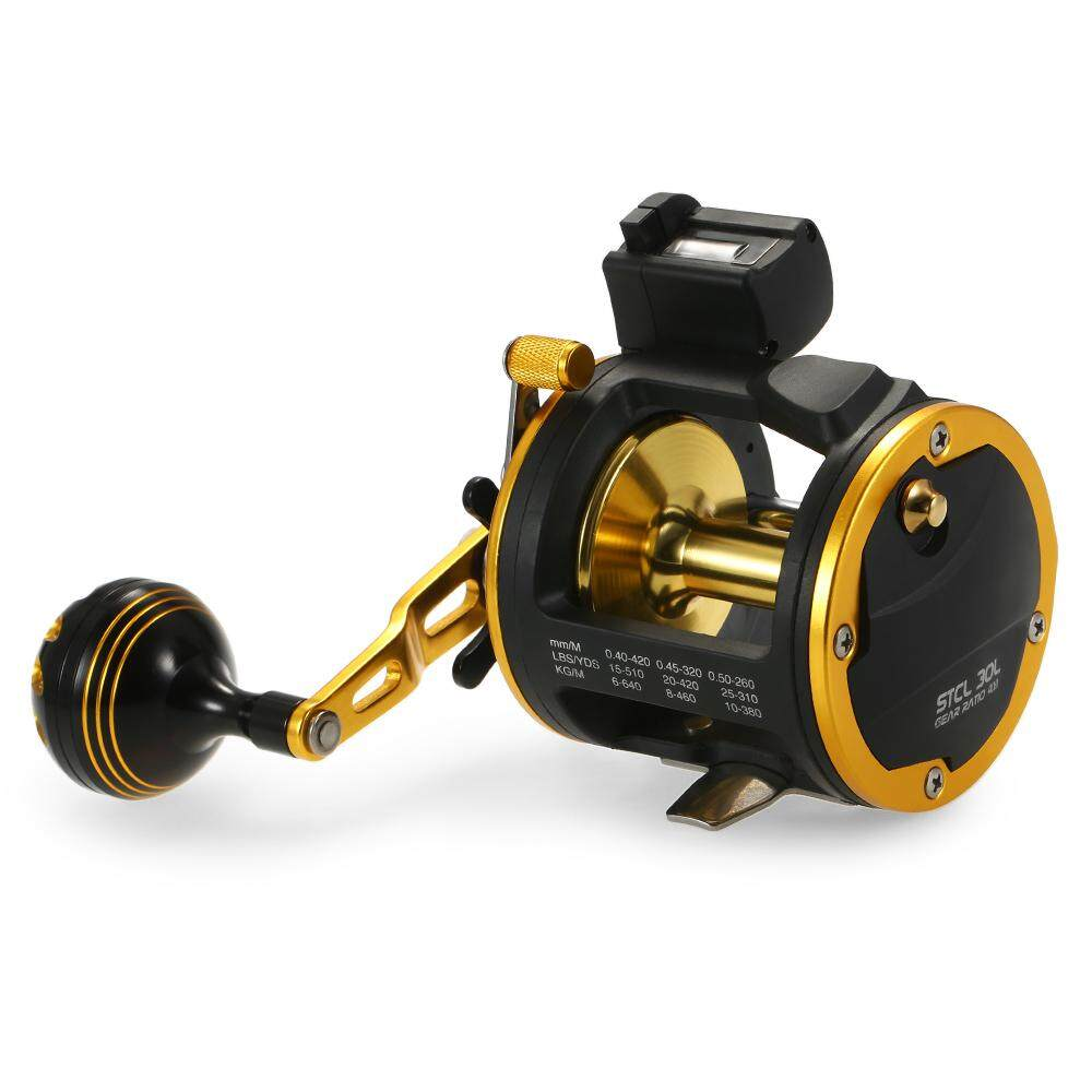 6+1 Ball Bearing Fishing Trolling Reel with Line Counter Alarm Bell Drum Reel Fish Vessel Plate Bait Casting Wheel