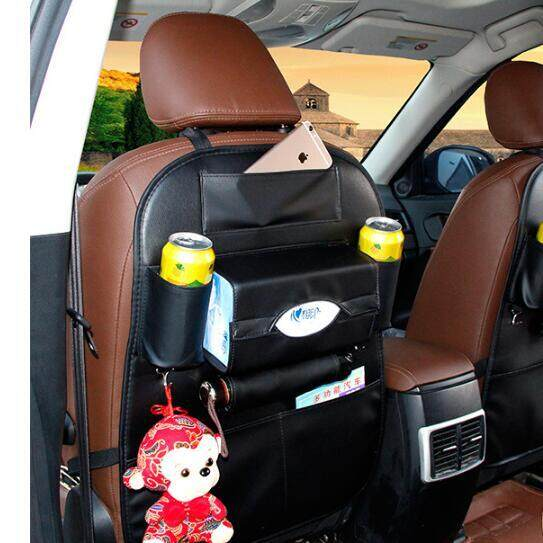 Pudding Car seat storage bag multi-functional back hanging bag baby seat anti-kick bag black