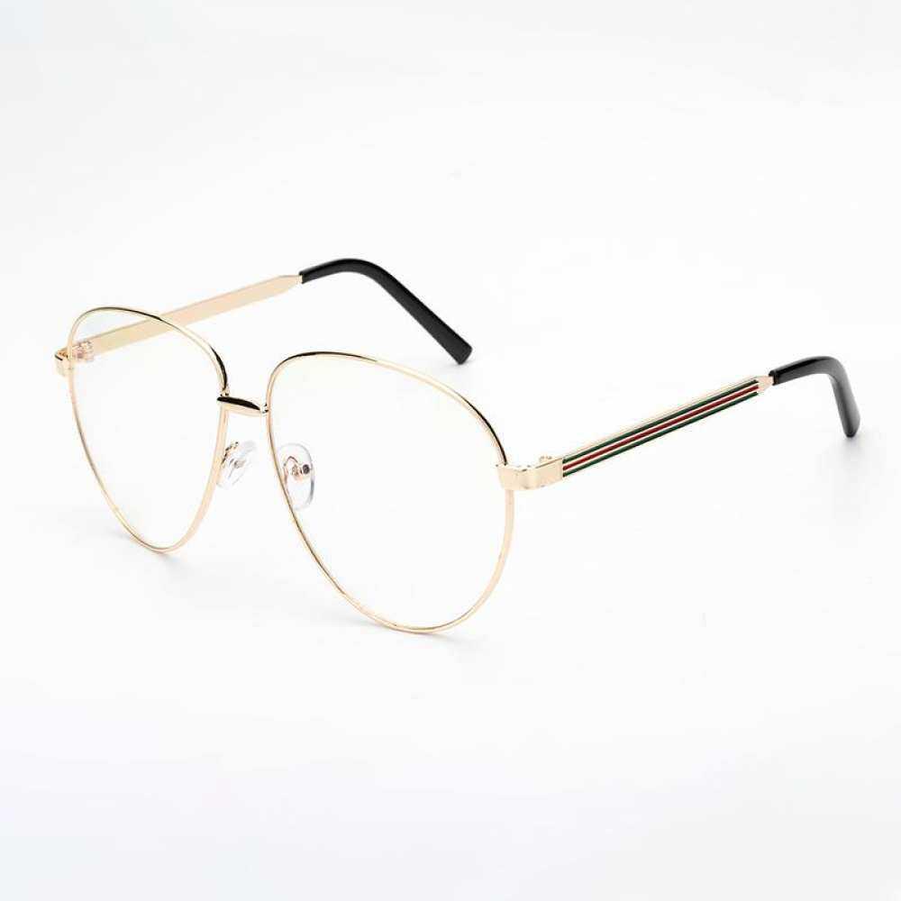 XYdirect-Fashion Glasses Frame Metal Gemajing Anti Goggles Round Box Glasses Big Frame Blue