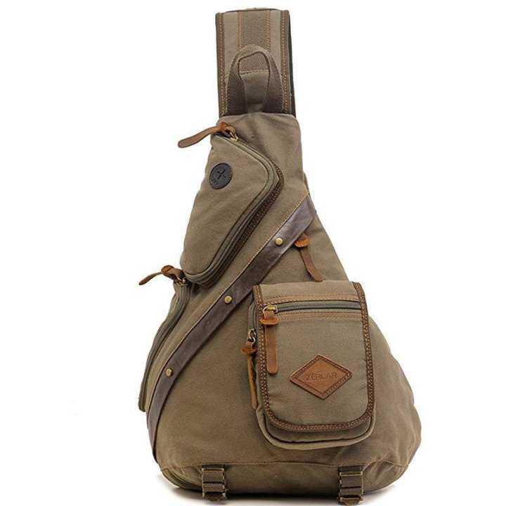 zerlar poitrine pack crossbody hommes sac sac sac sac sac vintage toile épaule écharpe vert, armée dc3331