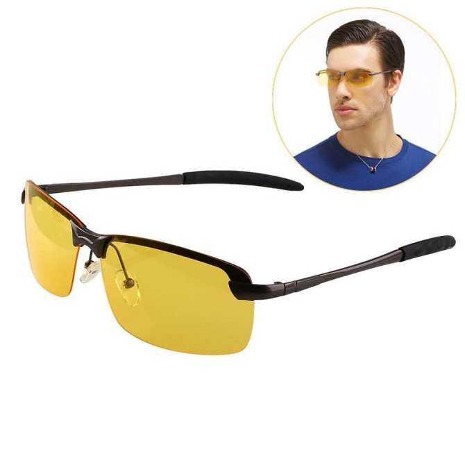 Men Sport Night Driving Anti Glare Polarized Yellow Driver Glasses Sunglasses