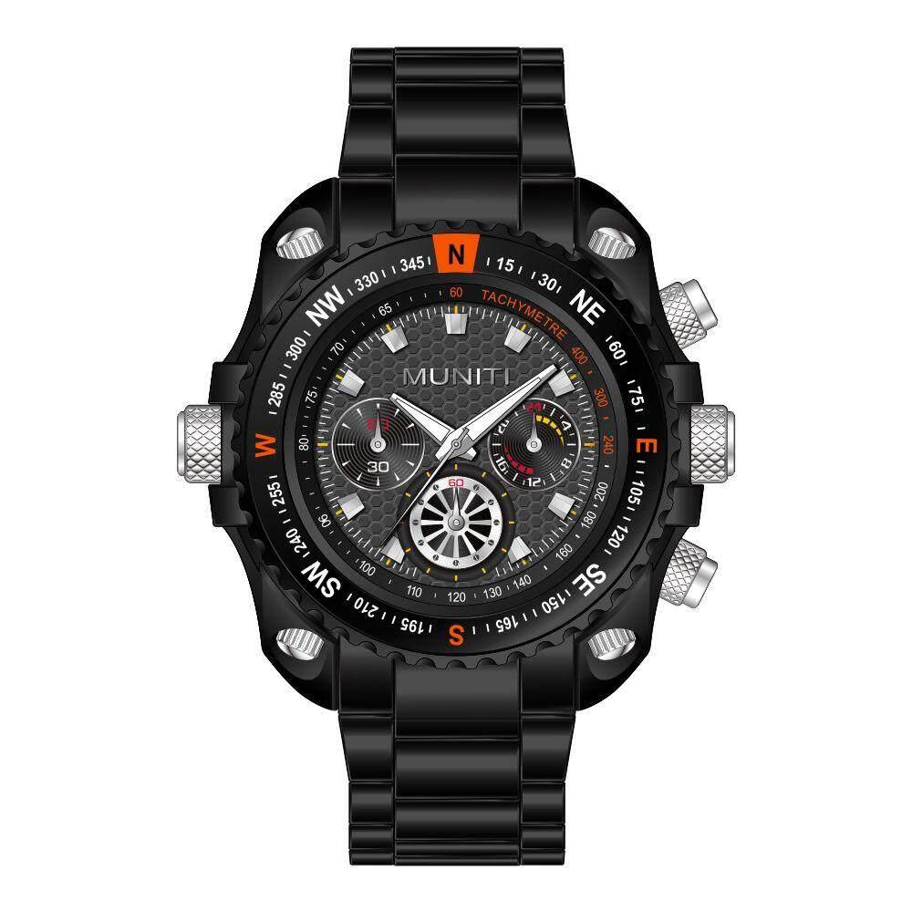 MUNITI Men's Watches Fashion Brand Men's Quartz Wristwatches Analog Sports Watch Men Business Wrist Watch Gift For Boy(Black and Red Letter)