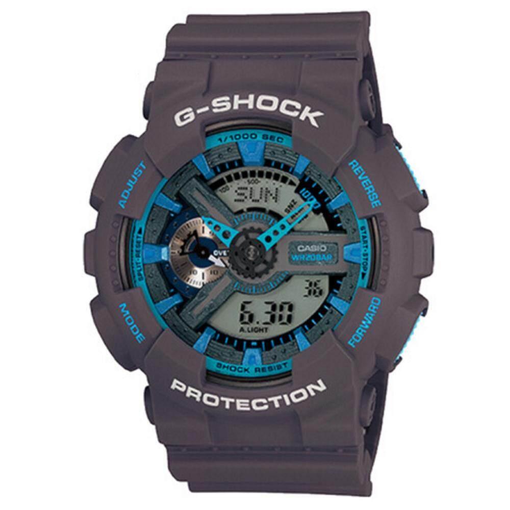 ชัยภูมิ 【 STOCK】Original _ Casio_G-Shock Duo W/เวลา 200M กันน้ำโลกเวลานาฬิกากีฬาไฟแอลอีดีอัตโนมัติ Wist นาฬิกาสำหรับชาย GA-110TS-8A2