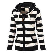 Voberry nữ thời trang Zip Top sọc hoodie áo khoác áo khoác mỏng giản dị áo len mùa đông áo khoác và áo khoác nữ