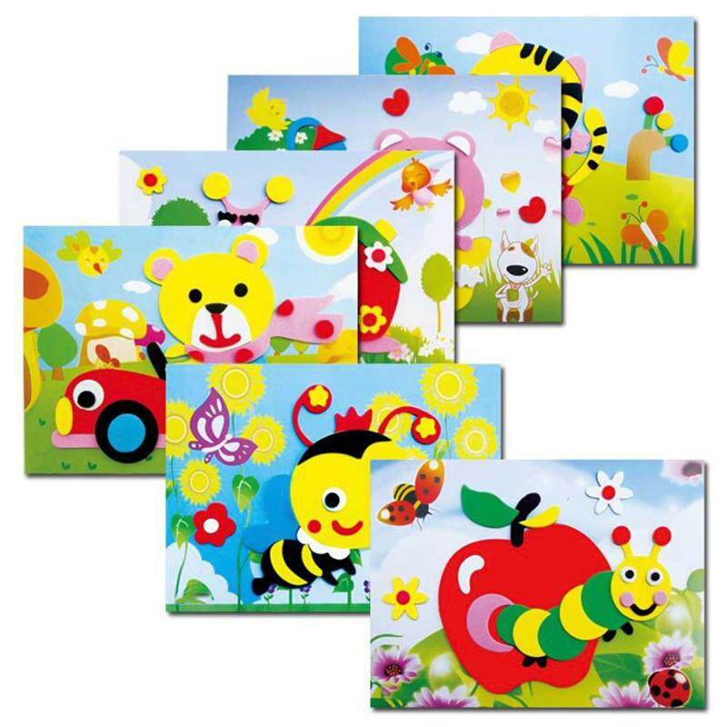 Fancyqube 20 designs DIY Cartoon Animal 3D EVA Foam Sticker Puzzle Series Early Learning Education Toys for Children Color Random