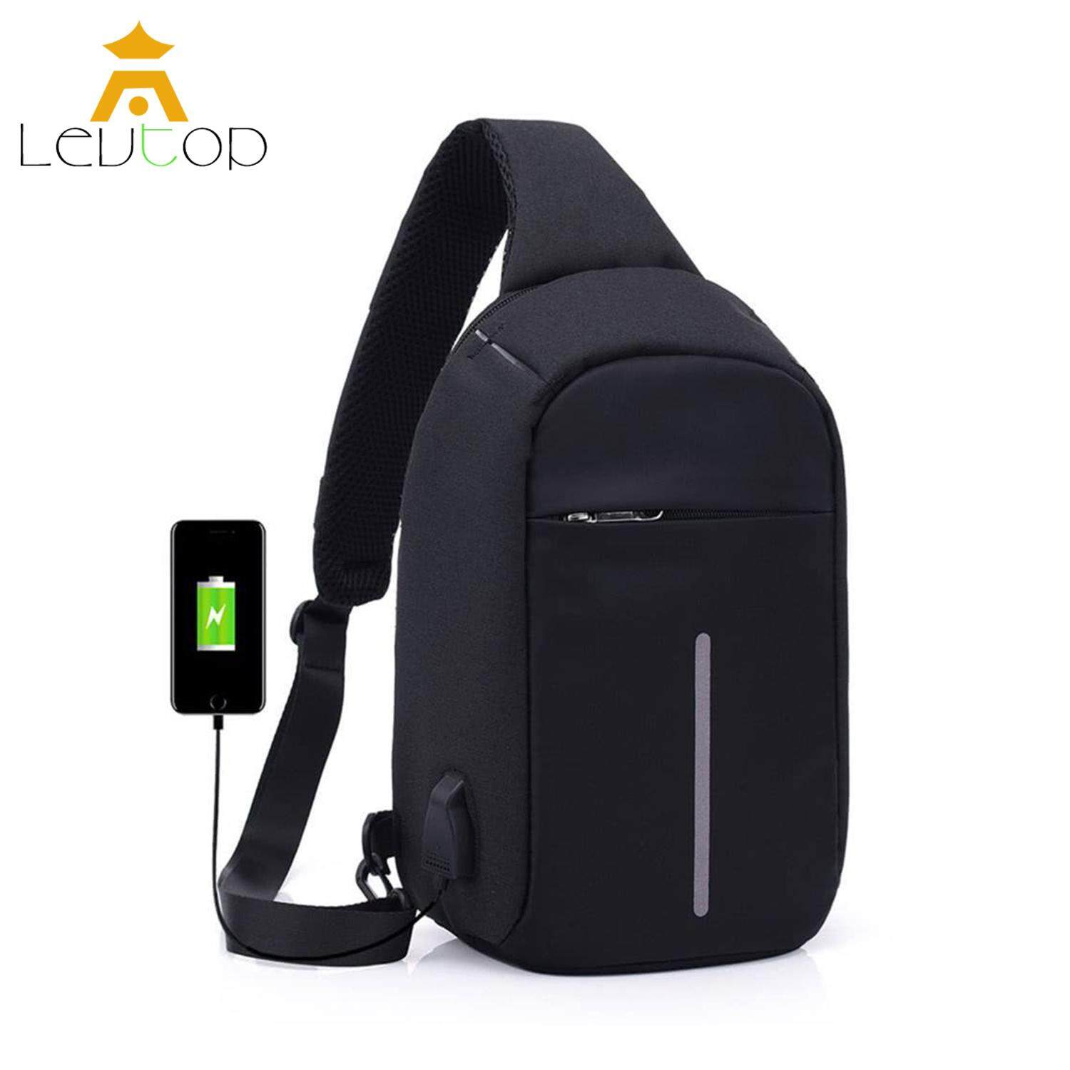 LEVTOP Men Crossbody Bags Sling Bags Chest Shoulder Bags Messenger Travel Bags USB Charging Anti Theft Bags