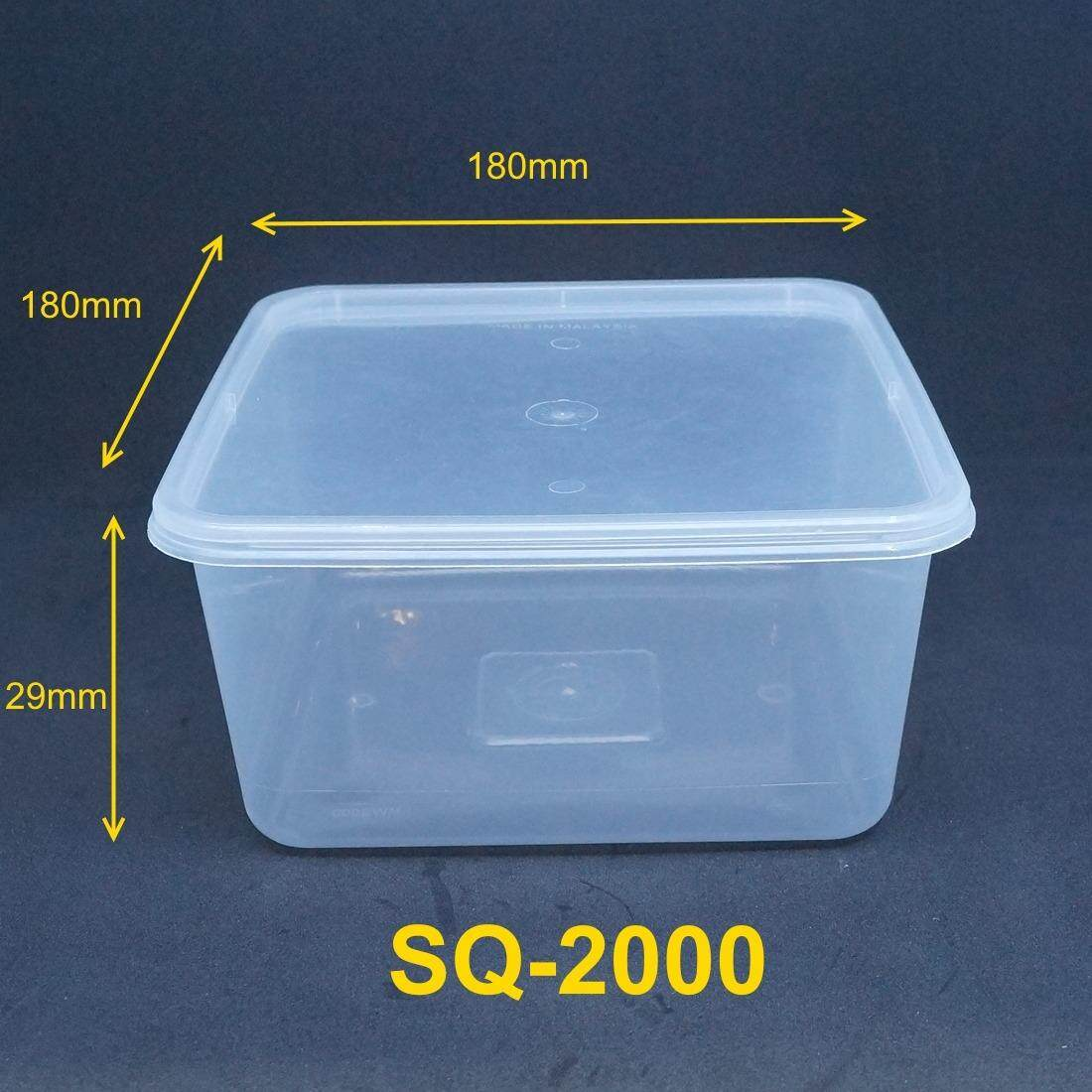 Rm289 90fl Plastic Container Square Food Storage Microwavable Disposable With Lid 2000ml 300 Pieces Whole