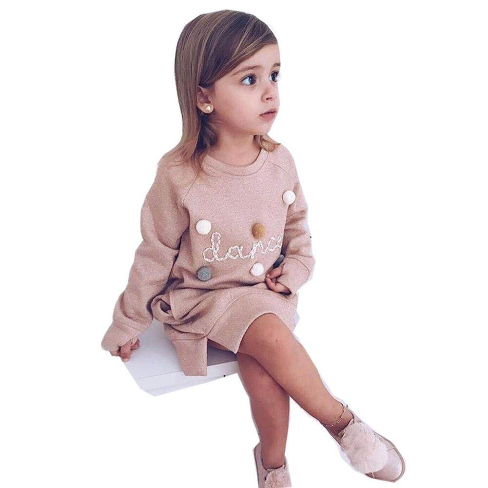 Star Mall Baby Girl Dress Cartoon Letters Pullover Cute Long Sleeve Sweater