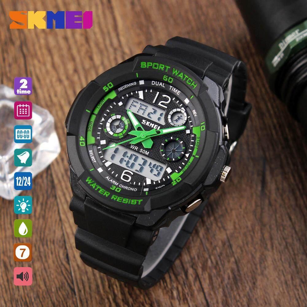 SKMEI 1060 Teenager Fashion Watch Casual Digital Wristwatch Alarm Hourly  Chime Split Time Chronograph Date Week 50m Waterproof EL Backlight