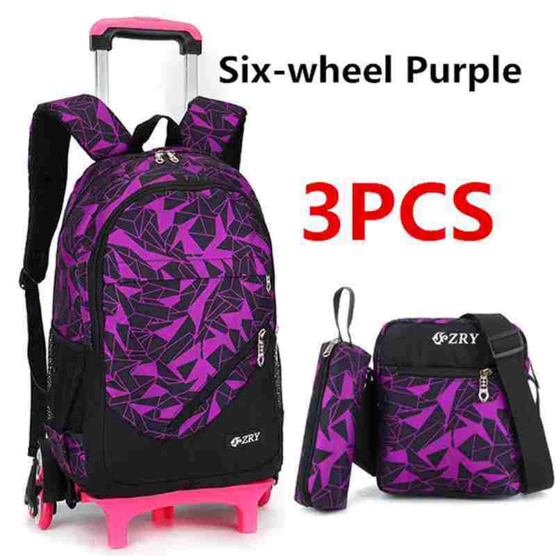 GreatWay 3Pcs Kids Teenagers School Bags Boy Removable Trolley Backpack Bag With Wheels #6 wheel