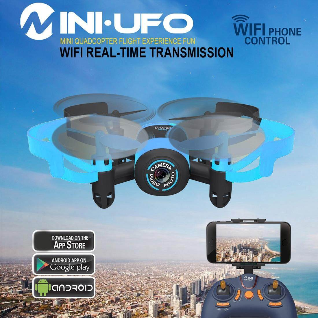 512W Mini 360 Degree Flip 4-Channel 2.4GHz WiFi Real-time FPV Radio Control Quadcopter with 0.3MP Camera & 6-axis Gyro(Blue) Image