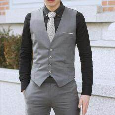 Ishowmall Men Dress Vest Slim Fit Mens Suit Vest Male Waistcoat