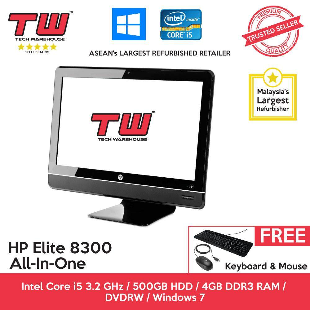 HP Elite 8300 Core i5 / 4GB RAM / 500GB HDD / Windows 7 Pro ALL-IN-ONE  (AIO) PC / 12 Months Warranty (Factory Refurbished)