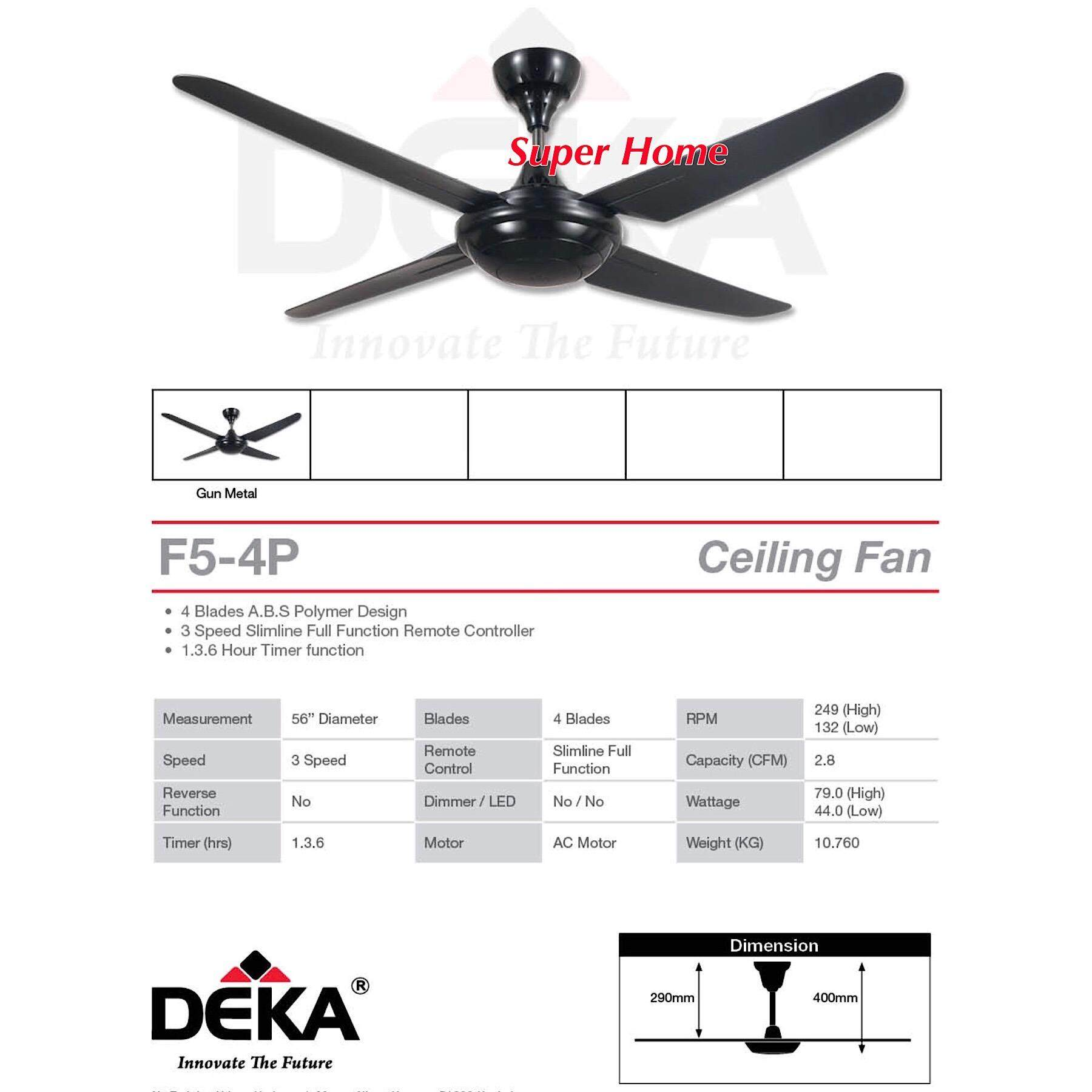 Kronos Deka F5 4P Ceiling Fan With Remote Control 4 Blade 56