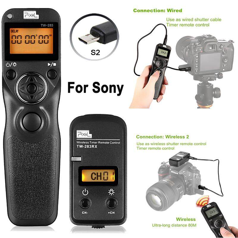 Pixel TW-283/S2 LCD Wireless Shutter Release Timer Remote Control compatible with Sony Alpha A58 A7 A7R A7RII A3000 A6000 HX300 RX100II