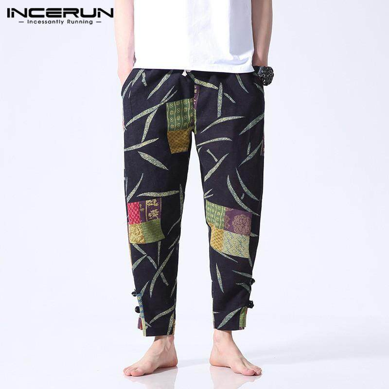 INCERUN Men Ethnic Style Printed Loose Wide Leg Pants Casual Baggy Elastic Waist Cotton Harem Pants