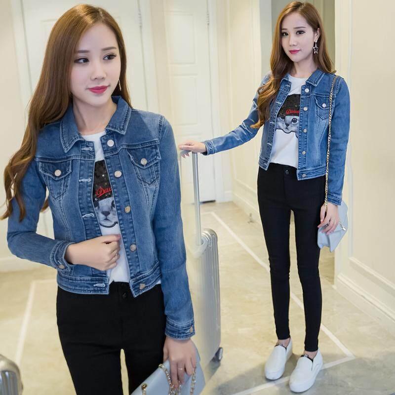 f654ac70b44 Autumn Clothing New Style Korean Style Loose Slimming BF Big Pocket Long  Sleeve Jeans Coat Schoolgirl