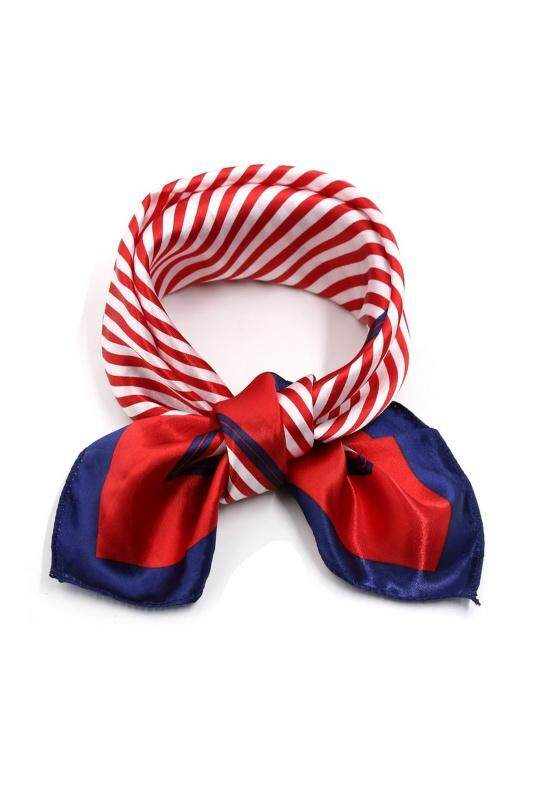 """Print Polyester 20"""" Kerchief Neck Scarf for Woman-Red Blue-Stripes"""