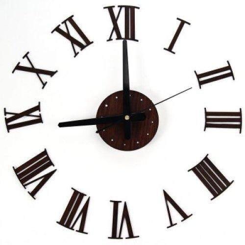 DIY Wall Clock With Wooden Grain Roman Numerals Metal Pointer