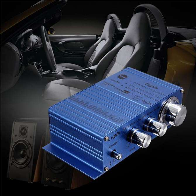 Mini 180W + 180W 2CH 12V Small Stereo Audio High Power Car Amplifier for CD MP3 Blue - intl