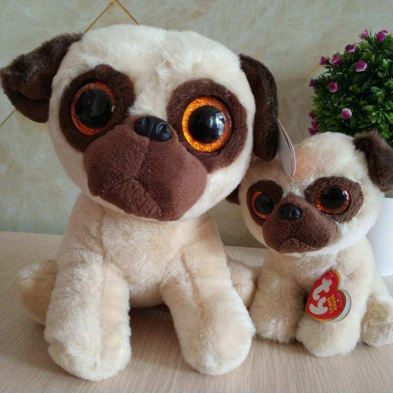 Rufus Pug Dog 15 Cm dan 25 Cm 10 Inch TY Klasik Mainan Mewah Boneka Binatang Lembut Anak-anak Mainan Hadiah Natal Penjualan Terlaris